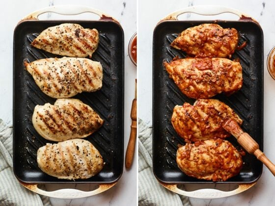 Side by side photos of 4 chicken breasts on a grill pan before and after being brushed with bbq sauce.