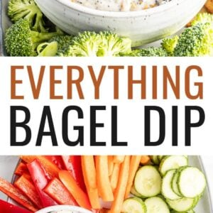 Everything bagel dip in a bowl. Veggies and pita chips are around the bowl of dip.