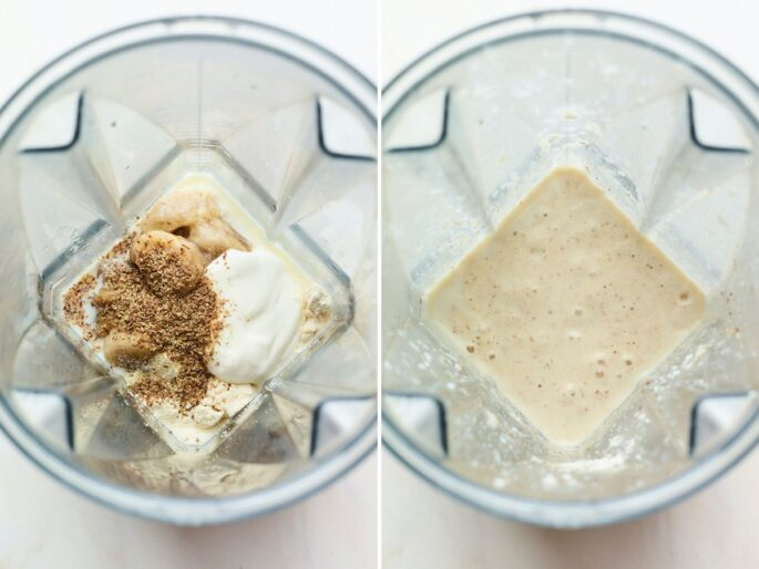 Side by side photo of ingredients to make a banana protein shake, before and after being blended in a blender.