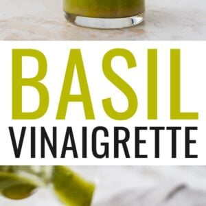 Jar of basil vinaigrette. A second photo of the basil vinaigrette being drizzled over a salad.