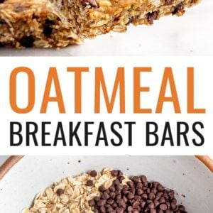 Hand holding an oatmeal breakfast bar, and a photo of a mixing bowl with oats, chocolate chips, pumpkin seeds, salt, nutmeg and cinnamon.