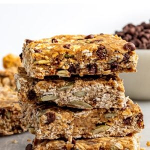 Stack of chocolate chip oatmeal breakfast bars.