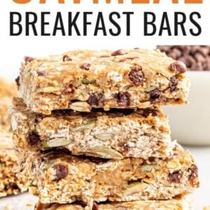 Stack of chocolate chip breakfast oatmeal bars.