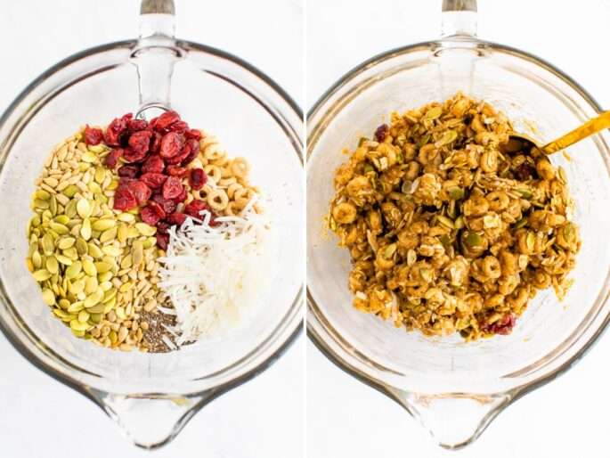 Side by side photos of a mixing bowl with ingredients to make cereal bars, before and after the mixture is combined.