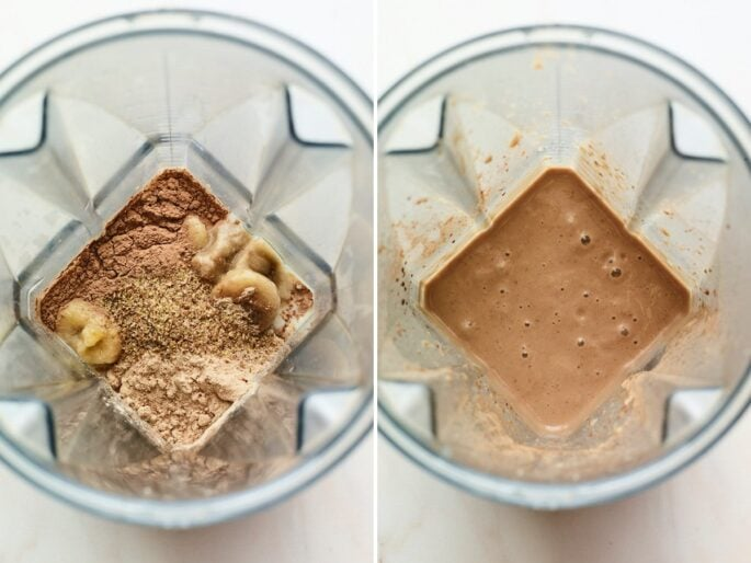 Side by side photos of ingredients to make a chocolate protein shake before and after being blended.