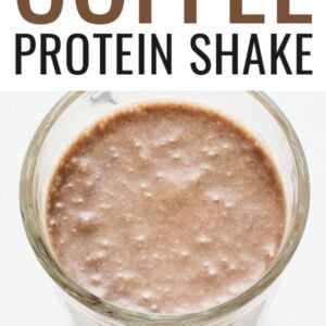 Coffee protein shake in a glass.