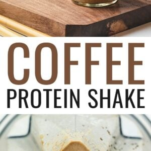 Photo of two mason jars with coffee protein shake, and a photo of a coffee protein shake in a blender.