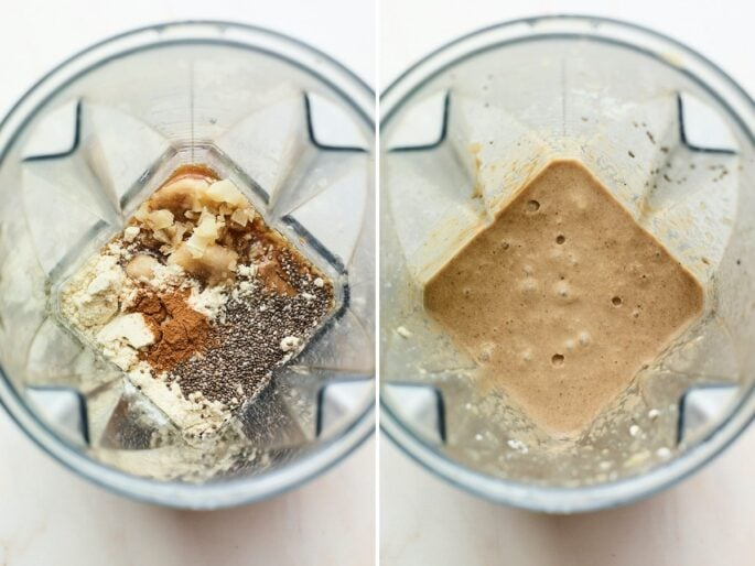 Side by side photos of a blender with ingredients to make a coffee protein shake. Photos show ingredient before being bended, and the creamy smoothie after being blended.