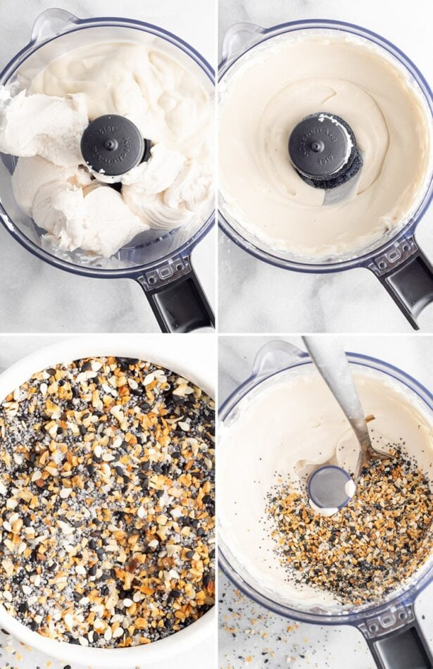 Collage of four photos showing vegan cream cheese and yogurt being blended in a food processor, then getting everything bagel seasoning stirred into the mixture.