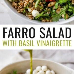 Farro arugula salad in a bowl. Second photo is a bowl with cannellini beans, sun dried tomatoes, mozzarella balls, farro and arugula.