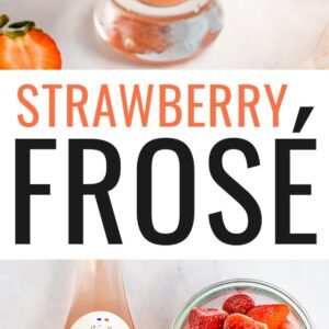Photo of a glass of frose, and a photo of a bottle of rose, frozen strawberries and honey.