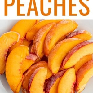Plate of frozen peach slices.