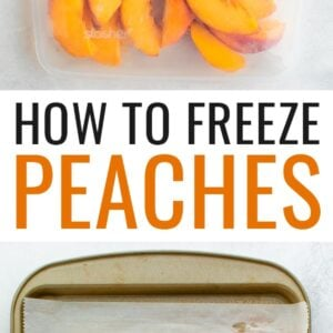 Bag of frozen peaches, and a cookie tray lined with parchment with peach slices.