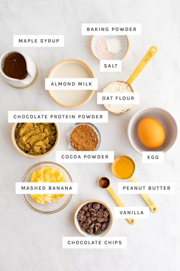 Ingredients measured out to make a protein mug cake.