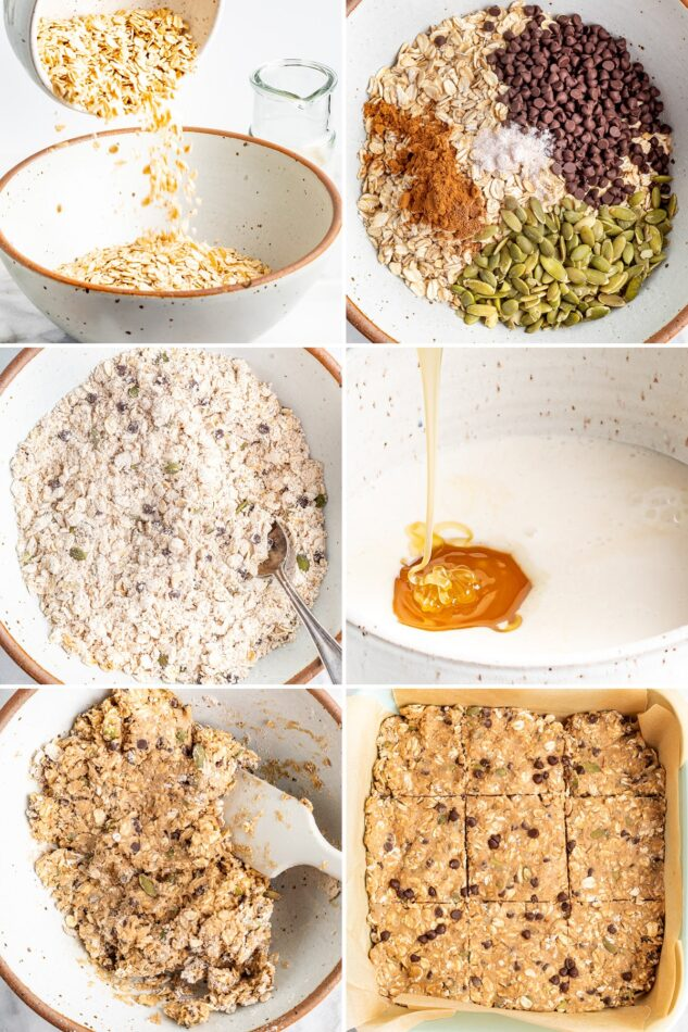 6 photos showing the process of how to make oatmeal breakfast bars, from making the batter to baking in a pan.