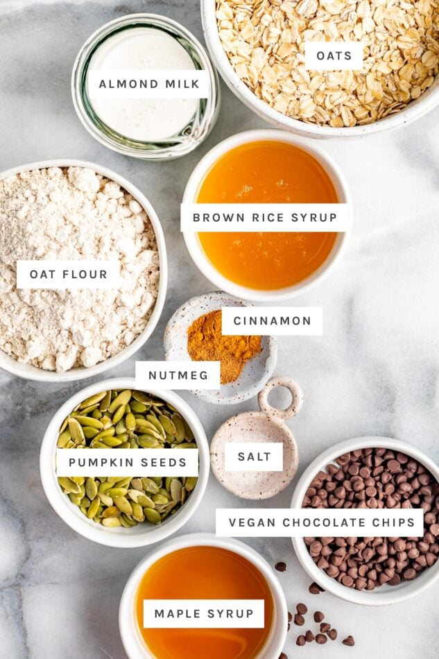 Ingredients measured out to make oatmeal breakfast bars: oats, almond milk, brown rice syrup, oat flour, cinnamon, nutmeg, salt, pumpkin seeds, chocolate chips and maple syrup.