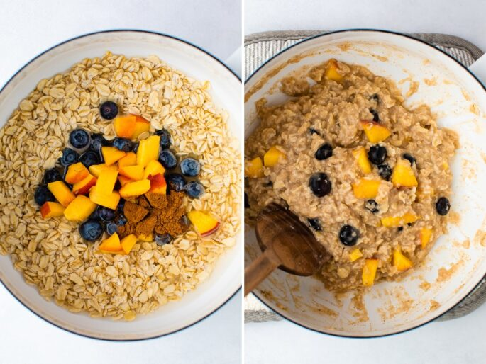 Side by side photos of a pot. The first has oats, cinnamon, blueberries and peached before being cooked. The second photo is the pot with cooked oatmeal.