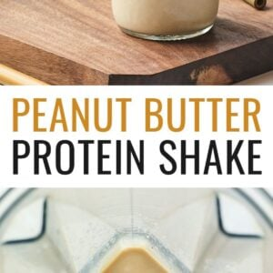 Photo of two mason jars of peanut butter protein shakes, and a photo of a peanut butter protein shake in a blender.