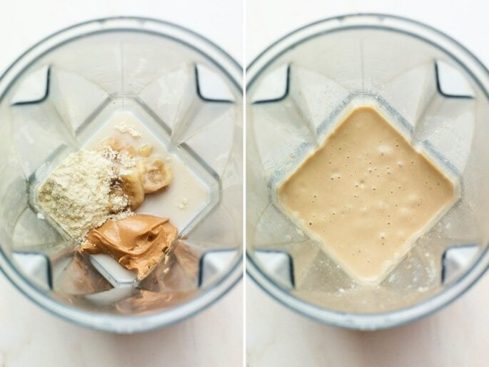 Side by side photo of ingredients for a peanut butter protein shake before and after being blended.
