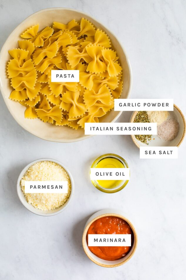 Pasta, garlic powder, Italian seasoning, salt, olive oil, parm and marinara measured out.