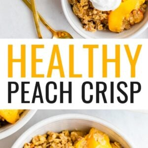 Bowls of peach crisp. Some are topped with whipped cream.