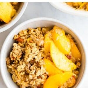 Bowl of peach crisp.