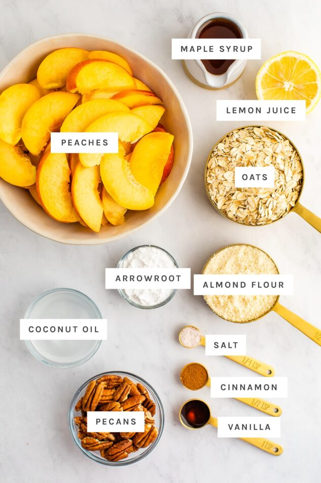 Ingredients measured out to make peach crisp.