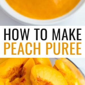 Bowl of peach puree with a spoon scooping up some. Another photo is of peached in a food processor.