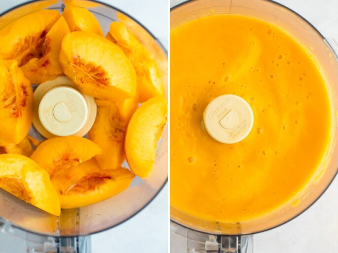 Side by side photos of peaches being blended in a food processor.