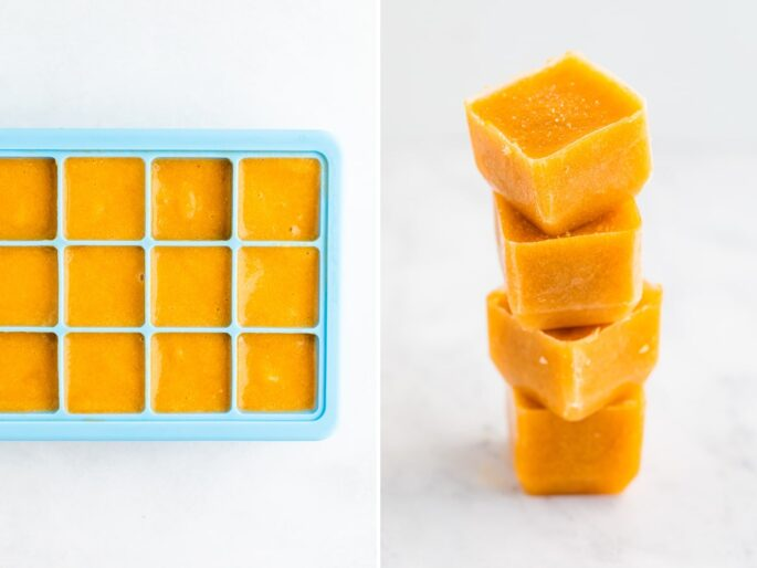 Side by side photos of peach puree baby food in an ice cube tray, and then a stack of frozen peach cubes.