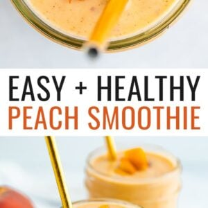 Mason jars with peach smoothies. Smoothies are garnished with diced peaches and gold straws.