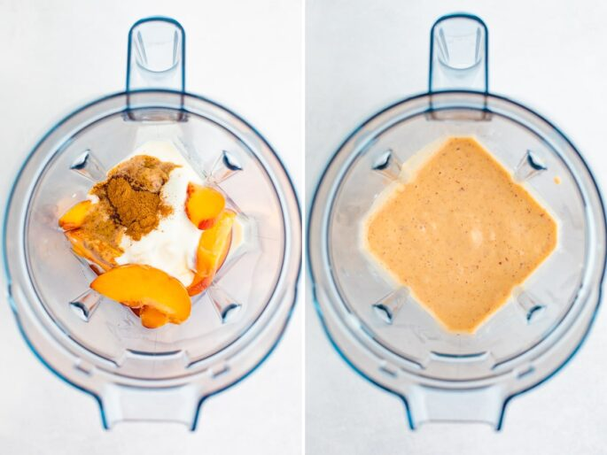 Side by side photos of a blender with ingredients to make a peach smoothie before and after being blended.