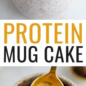 Chocolate protein mug cake drizzled with peanut butter and topped with chocolate chips. One photo is a spoon taking a bite from the mug cake.
