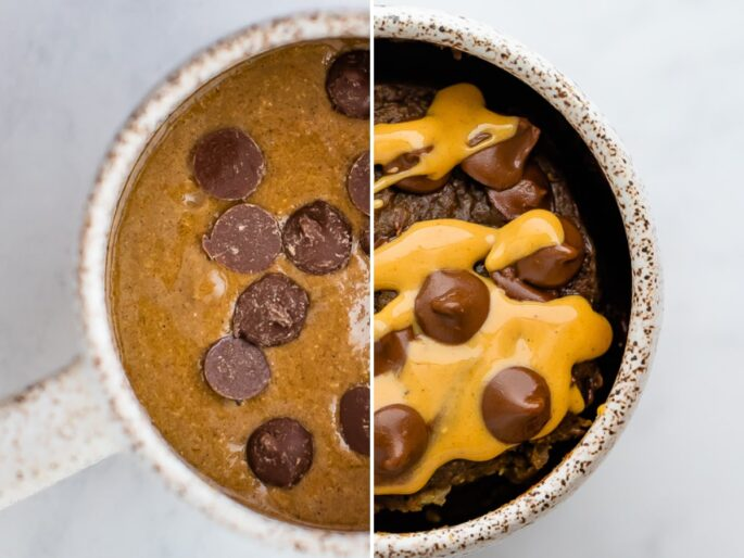 Side by side photo of a protein mug cake before and after being baked.