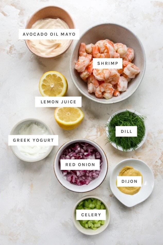 Ingredients measured out to make shrimp salad.