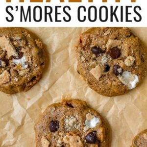 S'mores cookies on parchment paper.