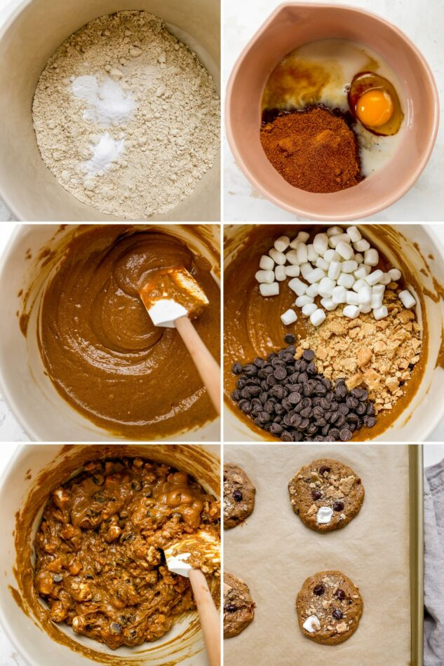 6 photos of how to make cookie dough for s'mores cookies and then finally the baked cookies on a cookie sheet.