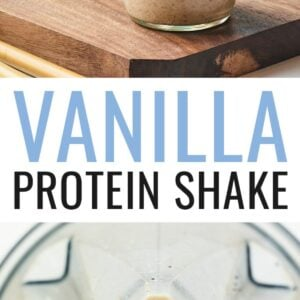 Two mason jars with vanilla protein shakes and a blender with the blended vanilla protein shake.