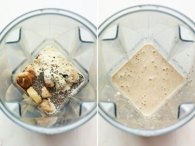 Side by side photos of a blender with ingredients to make a vanilla protein shake, before and after being blended.