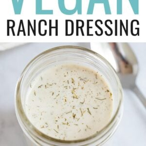 Jar of vegan ranch dressing.