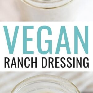 Jar of vegan ranch dressing. One photo is a spoon with a spoonful of the dressing from the jar.
