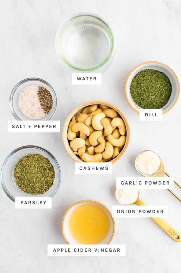 Ingredients measured out to make vegan ranch dressing.