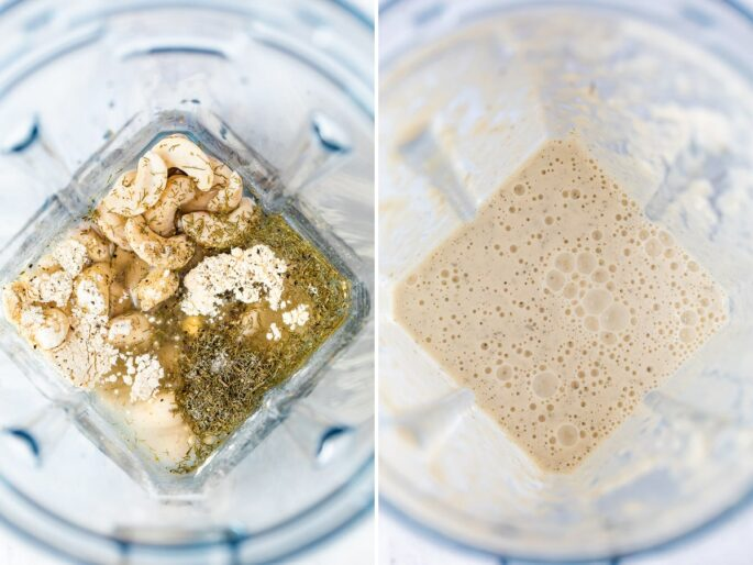 Side by side photos of a blender with the ingredient to make a vegan cashew ranch dressing, before and after being blended.