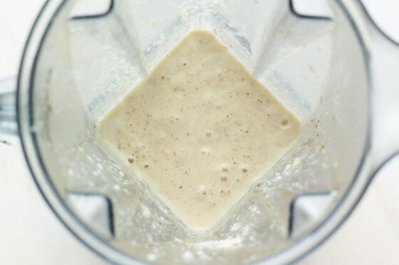Glass of a banana protein shake.