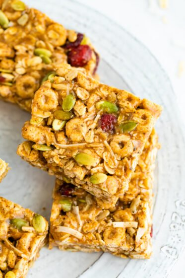 Cereal bars on a plate.