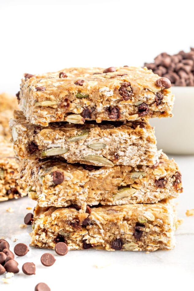 Stack of oatmeal breakfast bars.