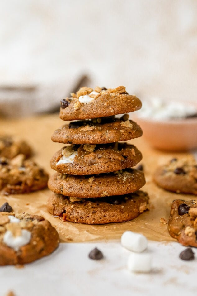 Stack of s'mores cookies.