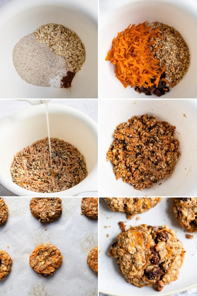 6 process photos showing how to make carrot cake breakfast cookies: from making the cookie dough to baking the cookies.