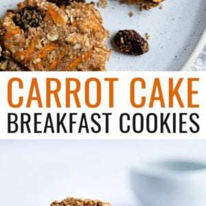 Two photos. The first is a slice up of a carrot cake breakfast cookie on a plate with a bite taken from it. The second is a stack of four carrot cake breakfast cookies, broken in half and on a plate.
