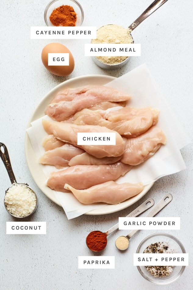 Ingredients measured out to make baked chicken tenders: cayenne pepper, almond meal, egg, chicken, coconut flakes, garlic powder, paprika, salt and pepper.